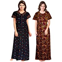 NEGLIGEE Women's Cotton Printed Nighty Combo Pack of 2, Free Size - Black & Brown Color