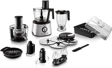 Philips HR7778/00 Küchenmaschine (1.300 Watt, inkl. Knethaken, Entsafter, Standmixer und Zitruspresse) schwarz/silber