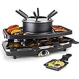 Klarstein Entrecôte - Raclette, Fondue, Grill de table électrique, 1100 W, Pour 8 personnes, 8 poêlons, Grill amovible avec a