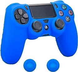 Pandaren Abdeckung Griff Leder aus weichem Silikon Protector für PS4verhindern Kratzer und Stöße (blau) + Deckel Daumen Peitsche Griff X 2