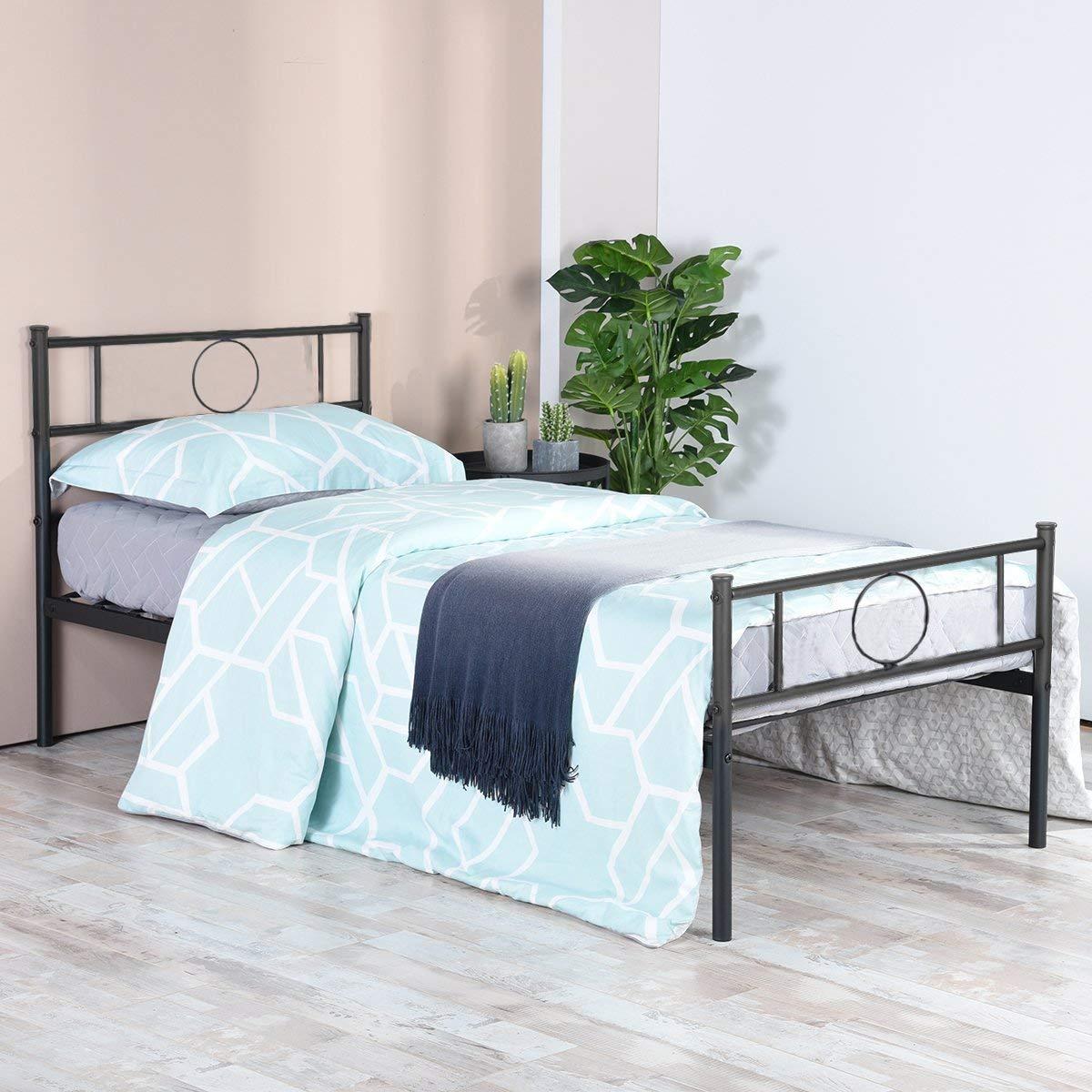 aingoo lit simple en m tal design 1 place cadre de structure m tallique comfort inspid co. Black Bedroom Furniture Sets. Home Design Ideas
