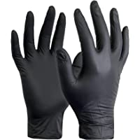 100 Pack Disposable Black Vinyl Powder Free Gloves Food Prep Exam Tattoo Glove (Medium)