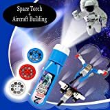 HUALEDI Space Toys Set,Space Torch and Projector+[2 Pack] Mini Aircraft Construction Toy,Boy toys age 2-3-4-5-6,science toy for 2 3 4 5 6 year old