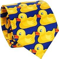 Cravatta con Paperelle Blu e Giallo - Cravatta Originale - Cravatta Fantasia - Travestimento