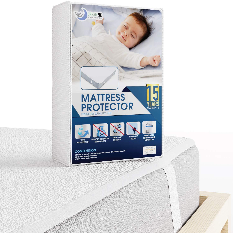 Dreamzie – Matratzenschoner 60 x 120 cm Wasserdicht – Wasserundurchlässige Matratzenauflage – Atmungsaktive Baumwolle Matratzenauflage – 15 Jahre Garantie