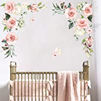 decalmile Stickers Muraux Grande Pivoine Fleurie Autocollant Mural Aquarelle Fleurs de Jardin Décoration Murale Chambre…
