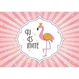 Edition Colibri (11006 FR 10 Invitations en Français Flamant Rose: Lot de 10 Cartes d'invitation pour Un Anniversaire de Fill
