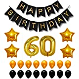 Theme My Party Happy Birthday Party Balloons, Supplies & Decorations Set, Black & Gold (60th Year)