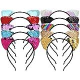 Mwoot Fascia per ragazze, 10 pezzi per gatto orecchie per capelli fascia per capelli con paillettes scintillanti