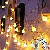 Augone Lichtsnoer met 120 ronde ledlampjes, 12 m lang, met stekker, 8 modi en geheugenfunctie, voor binnen en buiten; ideaal