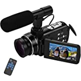 "Video camera HD, Andoer 4K Ultra HD Palmare DV Videocamera professionale, 18X Digital Zoom Camera, 3.0"" LCD, con Obiettivo Gr"
