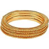 Efulgenz Indian Bollywood Traditional Ethnic Gold Plated Bracelets Bangle Set (4 Pieces) Wedding Jewelry for Women