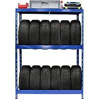 Rayonnage pour pneus | HxLxP 180 x 130 x 50 cm | Jusqu'à 12 pneus | Avec étagère - Etagère pour pneumatiques - Stockage…