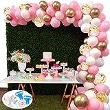 127Pcs Kit de guirnaldas con globos SPECOOL Kit de arcos de globos Rosa blanca y dorada Confeti Lleno de globos de látex Paqu
