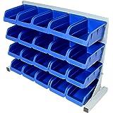 Hardcastle - Bac de rangement - 20 compartiments - acier/plastique - pour garage/atelier/cabanon/maison - bleu