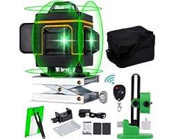 Livella Laser Autolivellante,Verde Professionale 16 Linea 4D 360 Orizzontale Linea Vertical Cross Laser,Base di sollevamento