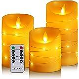 3 bougies LED avec guirlandes lumineuses avec télécommande ont une fonction de minuterie de 24 heures, saut de flamme, vraie