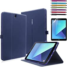 Mignova Galaxy Tab S3 9.7 Case - Ultra Slim Smart Stand Cover Case with Auto Wake/Sleep for Samsung Galaxy Tab S3 9.7 inch 2017 Tablet (SM-T820/T825)+Screen Protector Film and Stylus Pen (Blue)