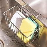 PFETSELL Porte-éponge de cuisine en acier inoxydable pour évier de cuisine Panier à suspendre Savon vaisselle Égouttoir à liq