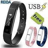 REIDA Fitness Tracker, Smart Bracelet mit Zwei zusätzlichen Ersatzbändern, Tragbares Armband mit Schrittzähler und Schlaftracker