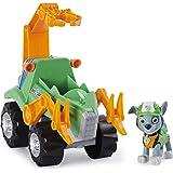 PAW Patrol Dino Rescue Rocky's Deluxe Rev Up Vehículo con Figura de Dinosaurio Misterioso