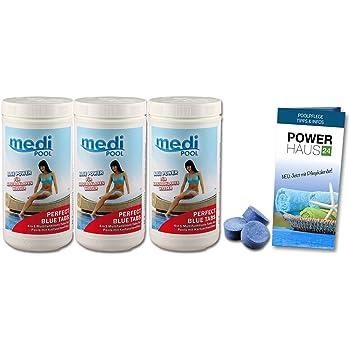 Multi Chlortabletten Blau 4in1 organisch - 20g - 3KG - langsam löslich - Aktivchlor mind. 90% - mit POWERHAUS24 Pflegefibel