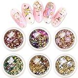 EBANKU 6 Boxes Mixed Nail Art Rhinestones Diamonds Crystals Beads Gems for 3D Nails Art Decoration Nail Art Supplies