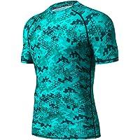 LAFROI Men's Short Sleeve UPF 50+ Baselayer Skins Compression Rash Guard