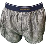 philippe john wright Men's Silky Silver Grey Paisley Luxury Classic Boxer Shorts Made in France