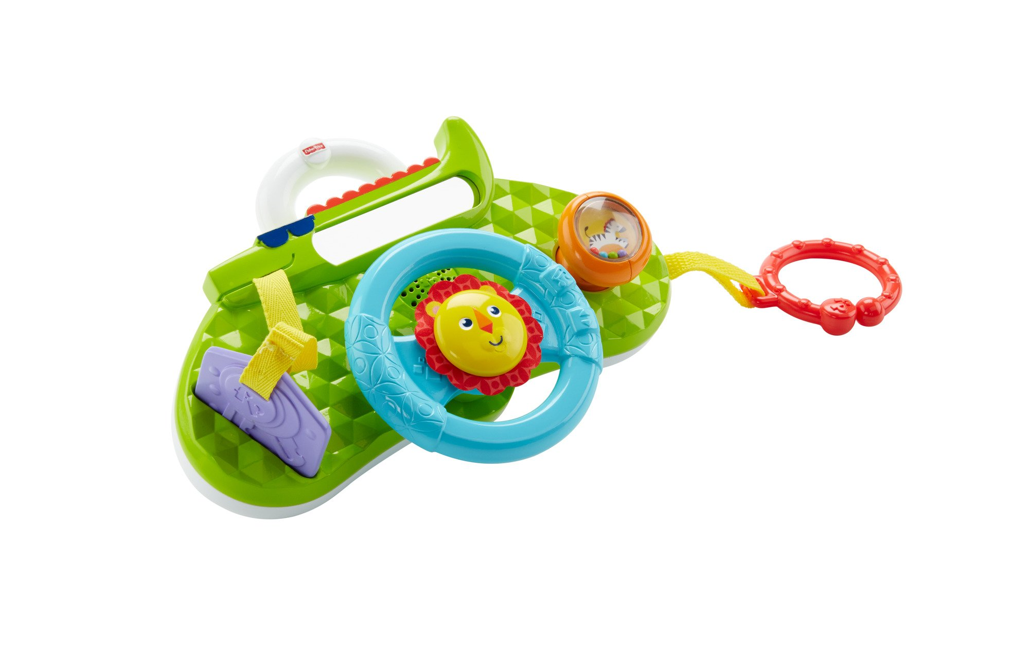 Fisher-Price Rolling and Strolling Dashboard, New-born Activity Toy with Music Sounds Fisher-Price  Attaches to stroller for playtime on the go  Turn the lion steering wheel to hear short songs  Push the lion's face for silly sound effects (Beep beep!) 2