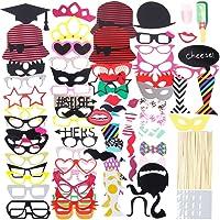 Lictin 86Pcs DIY Photo Booth Atrezzo Favorecer Incluyendo Cómica Divertida Creativa Bigotes Gafas Pelo Arcos Sombreros...
