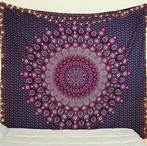 Beliebtes Kunsthandwerk New Gebracht Blau Auffallend Hippie Mandala Bohemian Psychedelic Indischen Betten Tapisserie Wandteppichen Magisches Denken Full (215cmsx230cms) Violett ()
