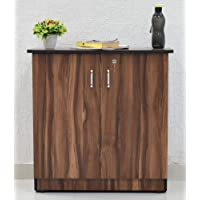 SamDecors Engineered Wood Two Door Jeff Multipurpose Filing Cabinet/Shoe Rack with Two Compartments (Colour - Walnut)