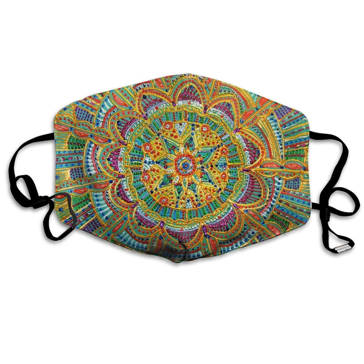 Daawqee Mascarillas, Kaleidoscope Painting Face Masks Breathable Dust Filter Masks Mouth Cover Masks Elastic Ear Loop