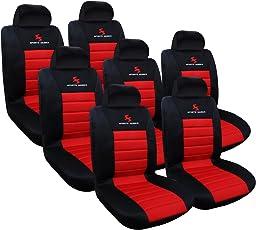 WOLTU AS7257-7 7er Sitzbezüge für Auto Einzelsitzbezug vordere Schonbezüge Sitzbezug Schoner, Komplettset, rot