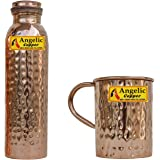 Angelic Copper Hammered Bottle with Cup, 1 Litre, Brown