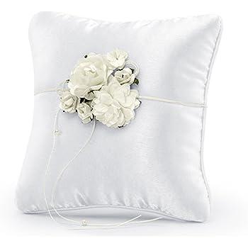 Cuscinetto per fedi Bianco Rose Bouquet 16x16cm Cimette Perle Cordoncino Rosa FINE Matrimonio cuscino ring cuscino ring portatore cuscino matrimonio PKWM4