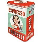 Nostalgic-Art Retro koffieblik, Espresso Yourself – Geschenkidee voor nostalgiefans, Blik met aromadeksel, Vintage design, 1,