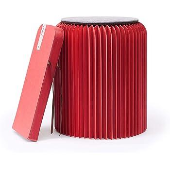 Fold Concept Faltbarer Papier Hocker Papphocker mit Sitzauflage   Innovativ & Multifunktional   Recyclebar & Umweltfreundlich   Wohnzimmer, Arbeitszimmer & Kinderzimmer   Falthocker (Rot, 42cm)
