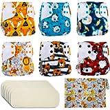Reusable Nappies Washable Pocket Cloth Nappy Diapers, 6PCS Potty Training Pants + 6PCS Bamboo Nappy Inserts + Free Wet…