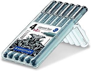 Staedtler 308 SB6P Fineliner pigment liner Set mit 6 Linienbreiten, hohe Qualität, Pigmenttinte, dokumentenecht, lichtbeständig, schwarz