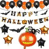 Halloween Ballonnen, Folie Ballon Spin Pompoen, Happy Halloween Banner, Latex Ballon, Sinaasappels en Zwarten, Ballonnen Deco