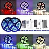 LED-Streifen-Set, LED Strip 10M RGB Licht Beleuchtung mit 300 LEDs, Komplettsets inkl Fernbedienung, Eckverbinder, Verbindungskabel, Dimmbar Selbstklebend für Innen Heim Küche Kinderzimmer Dekoration