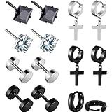 7 Pairs Stainless Steel Stud Earrings Black Zircon Earrings Small Hoop Earrings Barbell Dumbbell Stud Earrings for Men…