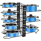 Porte-casseroles, 3 DIY Méthodes Porte-casseroles Support en Acier Inoxydable Rangement Cuisine avec 8 Compartiments Réglable