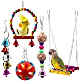 BWOGUE Bird Swing Toys with Bells Pet Parrot Cage Hammock Hanging Toy Perch for Budgie Love Birds Conures Small Parakeet Finc