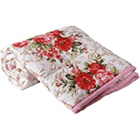 Zylish Cotton Red Flowers Print Single Bed Reversible AC Blanket | Dohar | Quilt | Comforter | Duvet