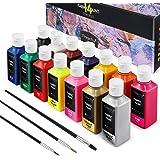 Magicfly Pintura para Tela Permanente 14 Colores 60 ml con 3 Pinceles, Set de Pinturas para Ropa, Textil, Manualidades, Lona,