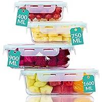 Praknu Boite de Conservation en Verre avec Couvercle - Set de 4 Boites Alimentaires- Etanche- sans BPA - Verre…
