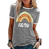 UMIPUBO Donna T-Shirt con Crew Neck, Moda Logo Maglietta Arcobaleno, Casual Tee Elegante Estiva, Vintage Maglietta con Letter